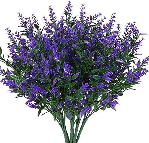 Kunst Lavendel Bloemen Planten 10 Stuks, Levensechte UV-bestendige nepheesters Groen struiken Boeket om op te fleuren Home Moestuin Binnen Buiten Decor (Paars)