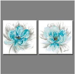 Decoración para el hogar, pintura de pared, lienzo, imágenes de arte para sala de estar, 2 piezas, dibujo de flores azul claro y gris, pintura al óleo-50x50cmx2 piezas-sin marco