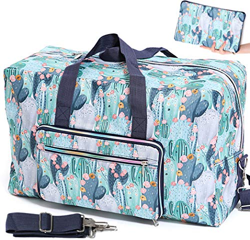 Foldable Travel Duffle Bag for Women Girls Large Cute Floral Weekender Overnight Carry On Bag for Kids Checked Luggage Bag (Z-Cactus)