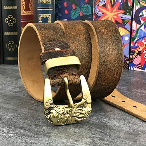 SJAKMA Cinturones De Hombre,Vintage Cowboy Jeans Hombres La Correa De Cuero Auténtico La Correa Amarilla De Latón Vintage Cinturón Cinturón,110Cm
