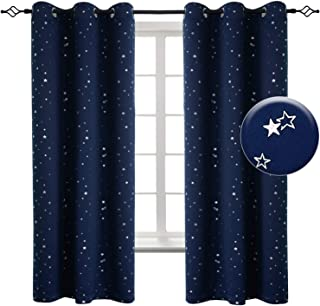 BGment Navy Star Blackout Curtains for Kid's Bedroom -...