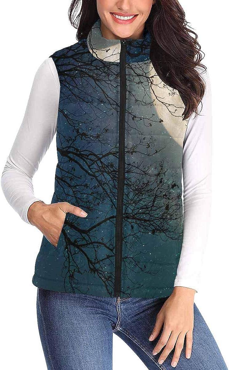 InterestPrint Women's Zip Vest Outerwear with Pockets Warm Sleeveless Vest Milky Way Star in Night Skies