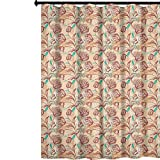 YUAZHOQI - Cortina de ducha de tela romántica, tulipanes ornamentales con composición de estilo de contorno, flores de primavera, impermeables, cortinas decorativas para el hogar, baño, 167,64 x...