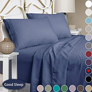 Mejoroom Full Size Sheets,1800TC Luxury Full Sheets with 15-inch Deep Pocket,Premium Bedding Collection - Extra Soft Breathable Wrinkle Fade Stain Resistant Hypoallergenic - 4 Piece (Full, Navy