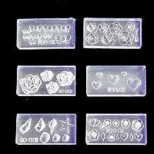 liumiKK 6Pcs 3D Stereo Mini Flower Carving Mold Nail Art Mould Template Silicone Mold