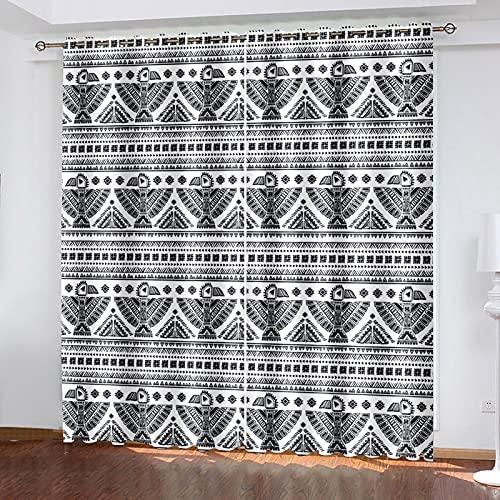 HAOGG Cortinas Opacas De Salon 3D Blanco Y Negro Línea Arte Abstracto...
