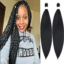 "Befunny Pre Stretched Braiding Hair 8 Pcs Professional 24 Inch Long Crochet Hair For Human Braiding Crochet Braids Black Yaki Straight Easy Braid Hair For Women Hot Water Setting, Itch Free(24"", 1B#)"