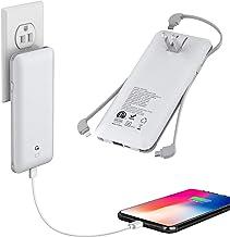 10000mAh Q شارژر قابل حمل، Ultra Slim USB C Power Bank، 4 خروجی دوگانه ورودی باطری خارجی با درپوش داخلی داخلی AC، ساخته شده در میکرو و USB C سه کابل سازگار با تمام تلفن های همراه
