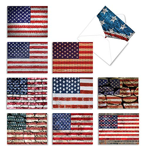 The Best Card Company - 10 Assorted 4th of July Cards (4 x 5.12 Inch) - Patriotic Red, White, & Blue USA Flag Notecard Set - Flag Day AM2013FJG-B1x10