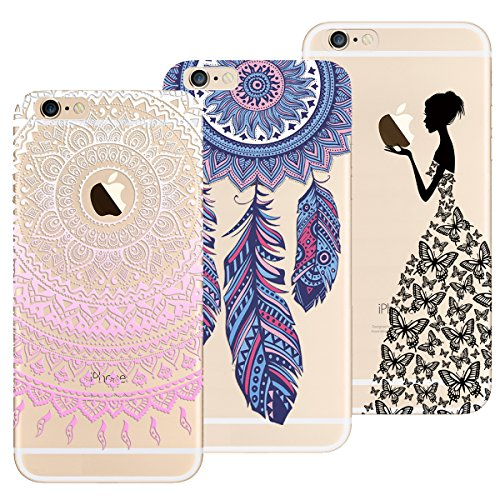 Yokata Funda para iPhone 6 / iPhone 6s, [3 Packs] Carcasa Transparente Ultra Suave Silicona TPU Case con Dibujo Anti-Arañazos Caso Cover - Mandala + Atrapasueños + Niña
