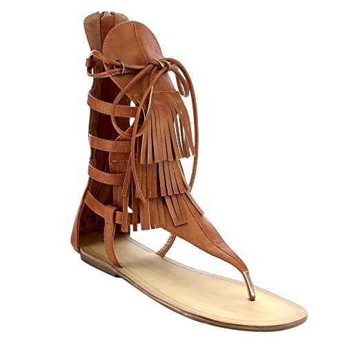 020cf0930f43 Liliana Avis-4 Women s Flat Lace Up 3 Layers Fringe Flip Flop Gladiator  Sandal