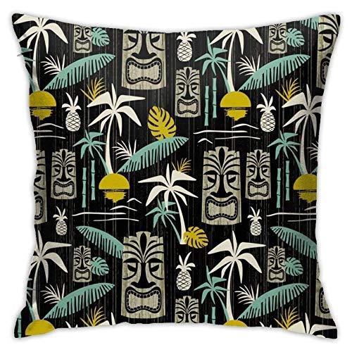 Hdadwy Island Tiki - Funda de almohada grande, color negro