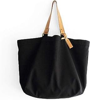 Borsa Tote, borsa Shopper, borsa in canvas nero e cuoio italiano, personalizzata con il tuo nome. Olivia Tote bag
