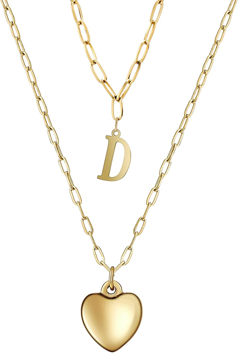 lureme Gold Initial Necklaces for Women Girls, 14K Gold Plated Layered Heart Necklace Paperclip Link Chain Necklace (nl006280)