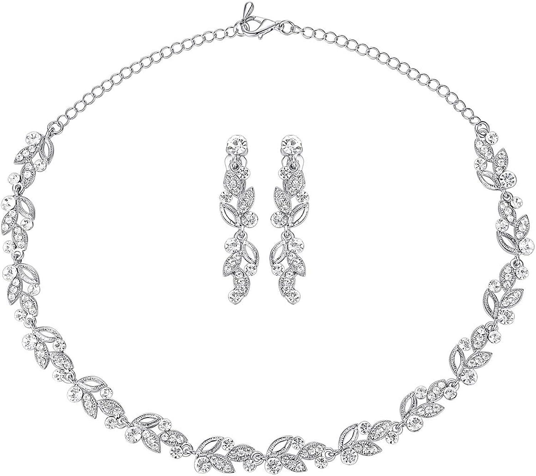 mecresh Clustered Crystal Rhinestone Flower Bridal Necklace Teardrop Dangle Earrings Jewelry Sets for Women Gift