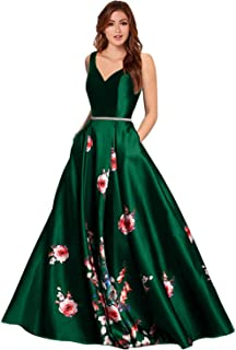 LL Bridal Women's V Neck Floral Prom Dresses Party Ball Gown LLAP11