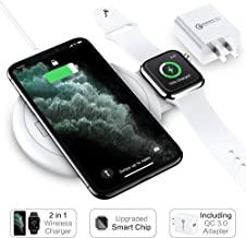 FLOVEME 2 in 1 Wireless Charger Pad for iPhone Apple Watch Charging Station for Multiple Devices Compatible with Apple Watch Series 5 4 3 2 iPhone 11 Pro Max Xs Xr X 8 Plus (QC 3.0 Wall Fast Charger)