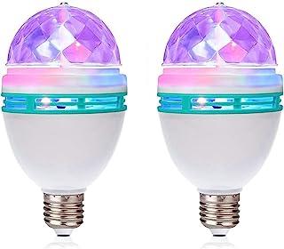 TrendBox 1 Pair E27 3W LED Full Color Rotating Auto Crystal Ball Bulb AC 85-260V Mini Party Light Lamp Energy Saving Disco