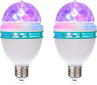 TrendBox 1 Pair E27 3W LED Full Color Rotating Auto Crystal Ball Bulb AC 85-260V Mini Party Light Lamp Energy Saving Disco
