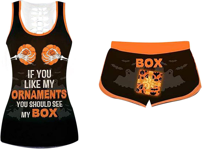 Halloween Pajama Set for Women, 2 Piece If You Like My Pumpkin Sleepwear Sets Sleeveless Tops Drawstring Shorts