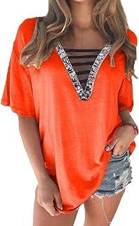 Zimaes Women Short-Sleeve Tee Top Loose Sequin V-Neck T Shirts