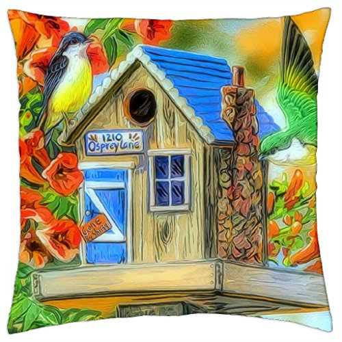 Trumpet Vines & Tree Sparrows–throw pillow cover case (18