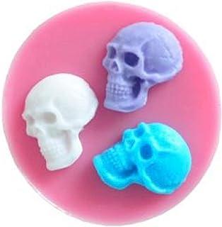 KIRALOVE Moule en Silicone en Forme de 3 crânes 2D - tête Morte - os - Bricolage - Faites - Le Vous - même - Loisirs - mou...
