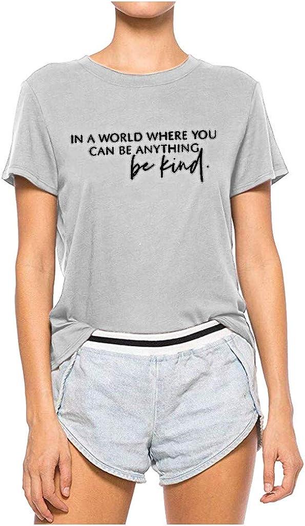 Weginte Women Spring new work T Shirts Casual Summer O-Neck Bombing new work Sleeve Be Kind Short