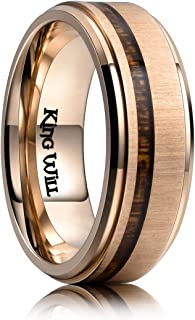 Nature Titanium 8mm Rose Tone Plated Wedding Band Ring Real Koa Wood Comfort Fit