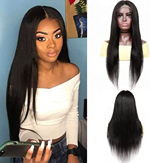 YYONG 13x6 Lace Front Wigs Human Hair, Short Straight Wigs with Baby Hair T U Part Lace Wig Natural Hairline Silky Brazili...