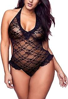 30fe2d758f4 Women Halter Lace Ruffle Sexy Teddy Nightwear Deep V Plunge Bodysuit Plus  Size Lingerie