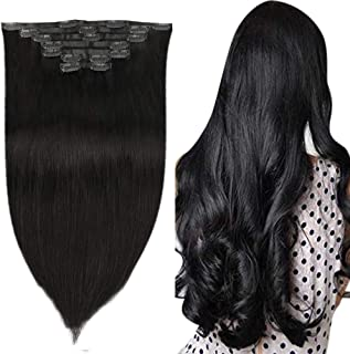Easyouth 22Inches Seamless Clip in Hair Extension with PU Instead of Weft, More Invisible Clip in Human Hair Extensions Jet Black Color 120 Gram Long Hair Extension for Women