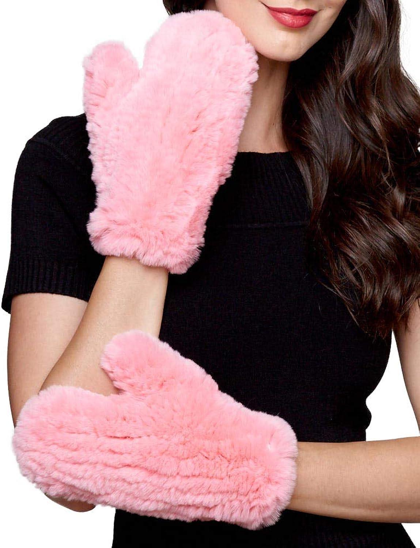 Frr Knit Rabbit Fur Mitts in Pink