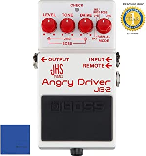 BOSS JHS JB-2 Angry Driver Over Drive Pedal for Electric Guitar with Microfiber and 1 Year Everything Music Extended Warranty