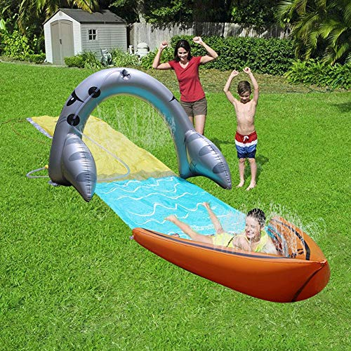 knowledgi Lawn Water Slides,Slip Slide N Splash Water Slide Spray Sprinkler Toy for Kids Lawn Garden Backyard Play Swimming Pool Games Outdoor Party Water Toys