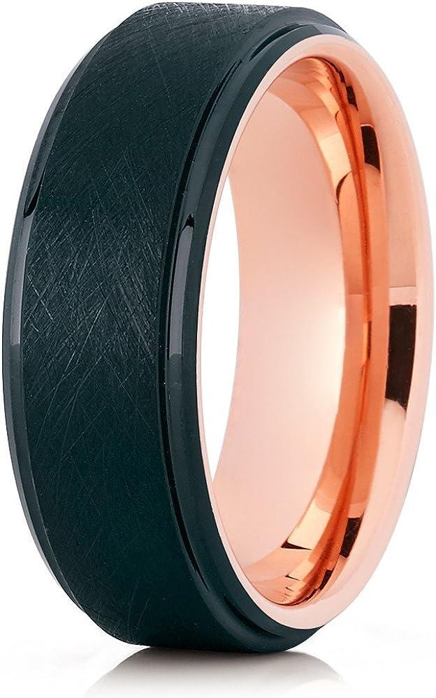Silly Kings Rose Gold Tungsten Wedding Band Men & Women Black Tungsten Wedding Ring Comfort Fit 18k Rose Gold