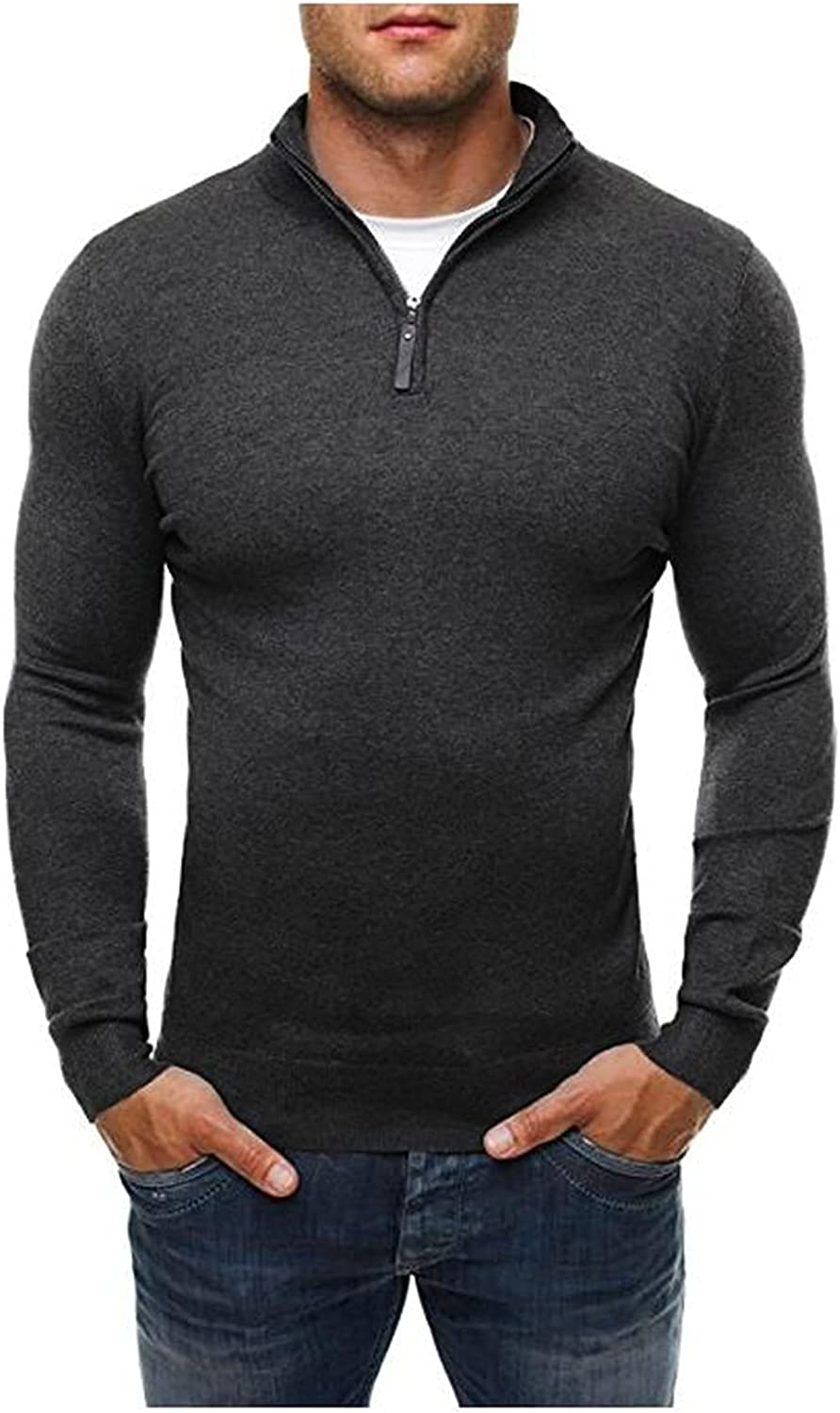 Men's Casual Warm Sweater,Winter 1/4 Zip Turtleneck Knitted,Work Tops Long Sleeve Ribbed Pullover Sweaters