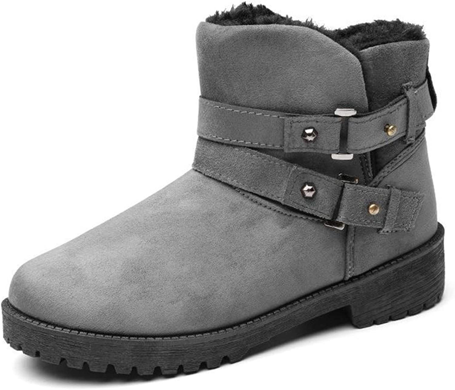 GIY Women's Winter Warm Snow Boots Comfortable Suede Slip On Square Heel Outdoor Snow Ankle Booties