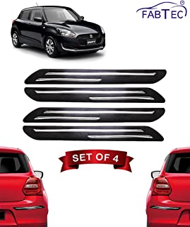 Fabtec Bumper Protector Guard Double Chrome Strip for Maruti Swift 2018 (Set of 4) Black (Double Chrome Strip)