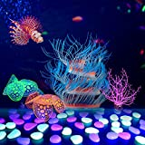 TIRTI Glow Aquarium Decorations, Fish Tank Glowing Decorations Simulation Silicone Artificial Coral Plant Ornament with Glowing Stone Accessories Decor