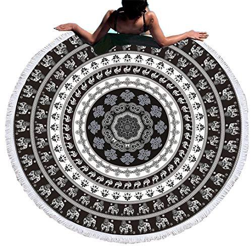 Multicolore Ronde Mandala Plage Serviette Yoga Mat Bohème Nappe Couverture de Plage,Couverture Quatre Saisons Couverture de Cadeau,Voyage en Plein air Hôtel (Style 5, 150cm)