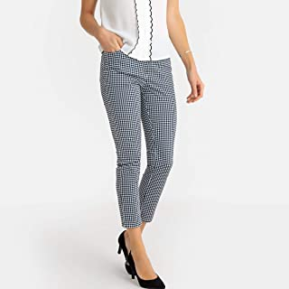 La Redoute Womens Gingham Check Ankle Grazer Trousers, Length 26.5