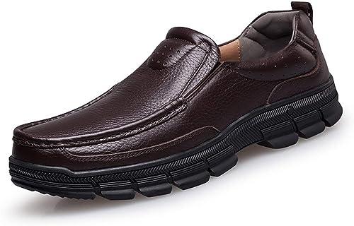 Qiusa Chaussures de Marche Penny Mocassins Décontracté à Semelle en Caoutchouc (Couleuré   Marron, Taille   7.5 UK)
