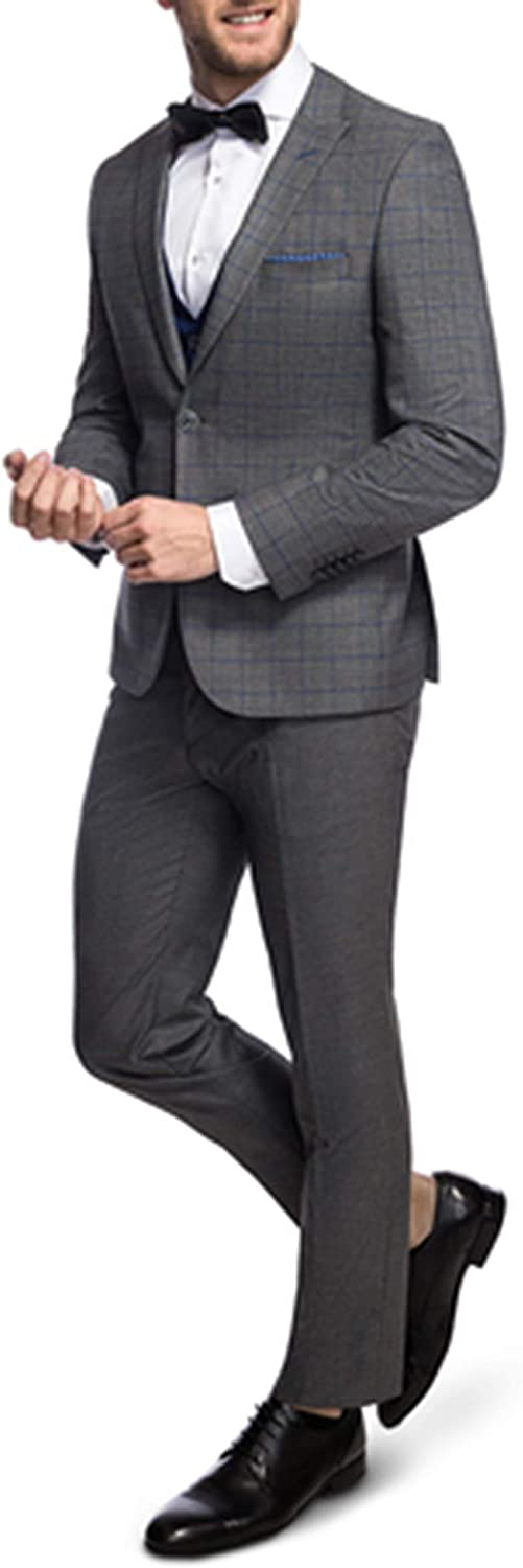 Men's Suits Slim fit Dark Grey Check Jackets Formal Business Blazer Wedding Party Tailored Haggar 3 Pieces Suits for Men Jackets Vest Pants Morning Suits Mens Bespoke Suit
