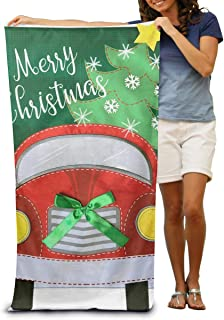130×80 Cm クリスマストラック (2) ホテルスタイル バスタオル 折りたたみ 吸水性バスビーチタオル ビーチ プール 海水浴 ビキニ 水着