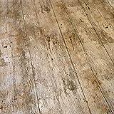 Mantel de vinilo para mesa, con un diseño impreso que imita una superficie de madera rústica, de 2metros, de la marca QPC Direct