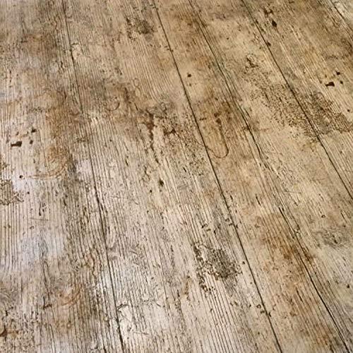 Mantel de vinilo para mesa, con un diseno impreso que imita una superficie de madera rustica, de 2metros, de la marca QPC Direct