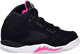 Jordan Retro 5 Little Kids' Basketball Shoes Black/Deadly Pink/White 440893-029 (11.5 M US)