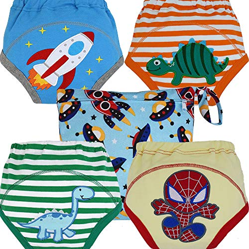 MOM & BAB Potty Training Pants / Underwear for Toddlers | Free Wet Bag | Water-Resistant Liner | Soft Cotton | Train Faster (Small)