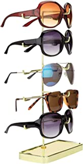 MyGift 5-Pair Modern Brass Plated Eyeglasses Holder Rack, Sunglasses Retail Display Stand Organizer